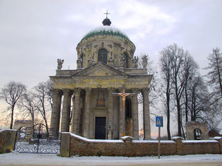 Catholic old abandoned chapel in winter