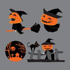 Pumpkin head witches on Halloween