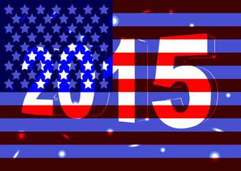Новый 2015 год на фоне флага США
