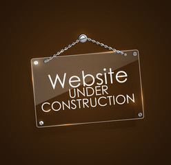 Website under construction signs with bright frame digital