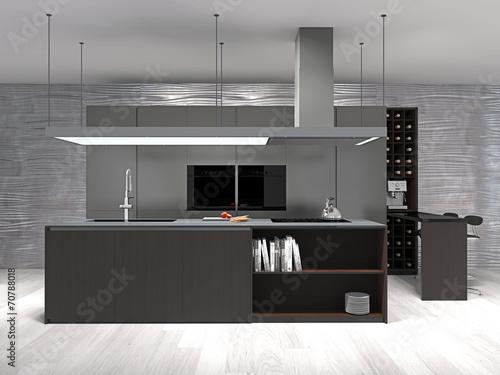 Moderne Küche mit Weinregal\