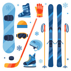 Winter sports equipment icons set in flat design style.