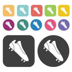 Soccer shoes with cleats sign icon. Football soccer icon set. Ro