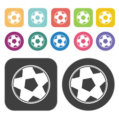 Soccer ball sign icon. Football soccer icon set. Round and recta