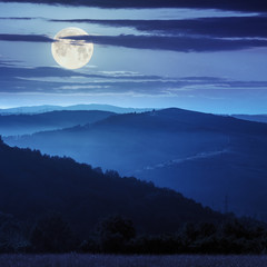 cold fog on before sunrise in mountains in moon light