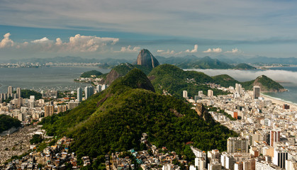 Aerial View of South Zone of Rio de Janeiro with its Hills