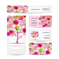 Business cards design, pink floral style