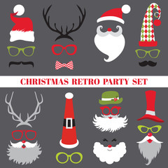 Christmas Retro Party set - Glasses, hats, lips, mustaches