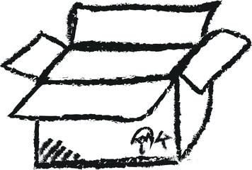 doodle empty cardboard box