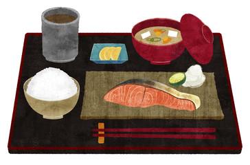 鮭定食 (おぼん付き)
