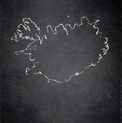 Iceland map blackboard chalkboard vector