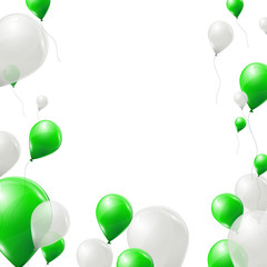 Green and white balloons background