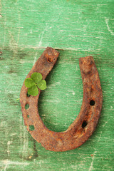 Fototapete - Old horse shoe,with clover leaf, on wooden background