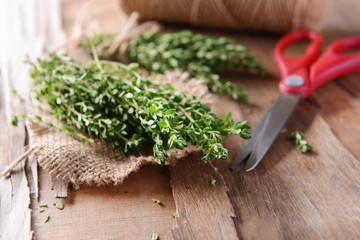 Thyme on table close-up