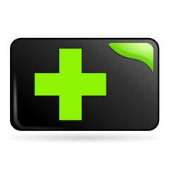 premiers secours sur bouton web rectangle vert