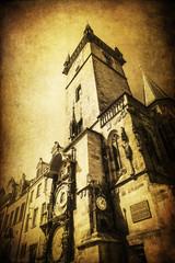 Fototapete - Rathausturm in Prag mit nostalgischer Textur