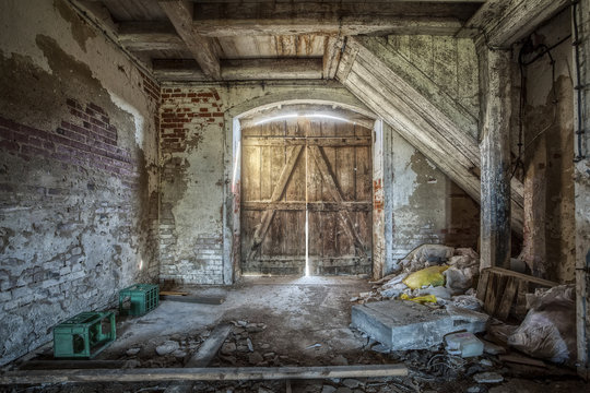 Interior of an old barn