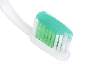 toothbrush with toothpaste isolated on white background