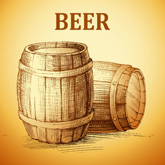 Oktoberfest vintage barrel. Beer hand drawn illustration. vector