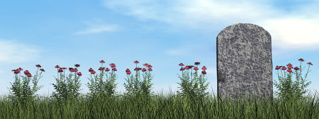 Tombstone and beautiful flowers - 3D render Fototapete