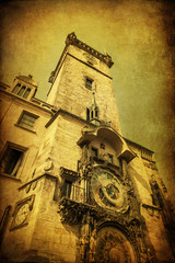 Fototapete - antik texturiertes Bild des Rathausturms in Prag