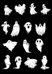 White Halloween ghosts