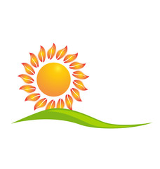 Sun with leafs logo web design