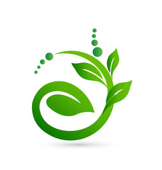 Healthy and natural plant shape logo vector icon
