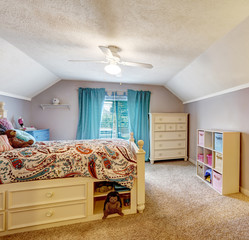 Kids room interior with studying area