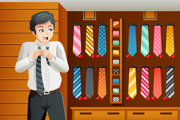 Man shopping for a tie