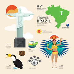 Travel Concept Brazil Landmark Flat Icons Design .Vector