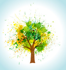 Color paint splashes eco background. Vector tree and frame