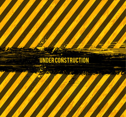 under construction grunge vector design