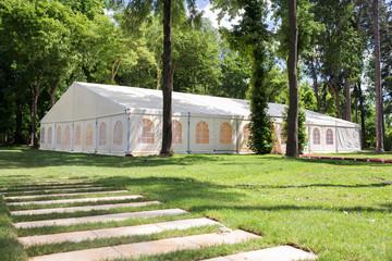 wedding tent in forrest