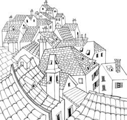 Silent town hand drawn