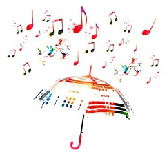 Musical background with umbrella