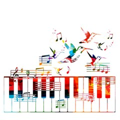Colorful piano vector background with hummingbirds