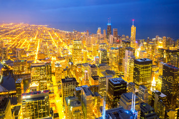 Aerial Chicago City dusk