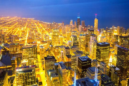 Aerial Chicago City dusk