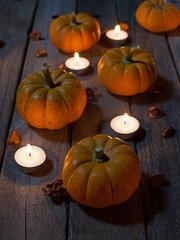 Pumpkins on a Wood Floor