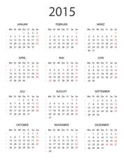 Kalender 2015 ohne Feiertage