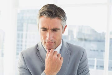 Businessman thinking about his work