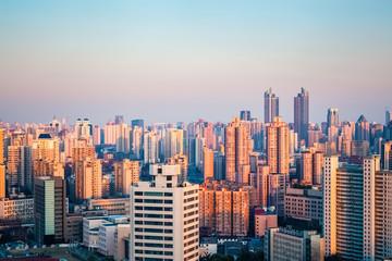 modern city at dusk