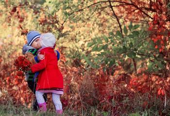 two children in autumn park