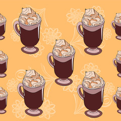 Cofee pattern on orange background with flowers background