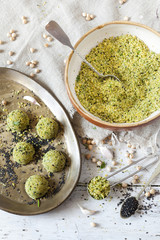 homemade preparation of falafel balls with chickpeas