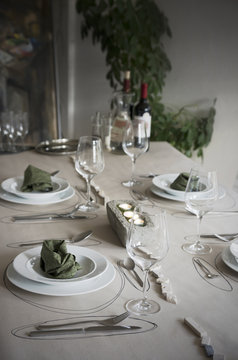 Festive laid table with individual table decoration