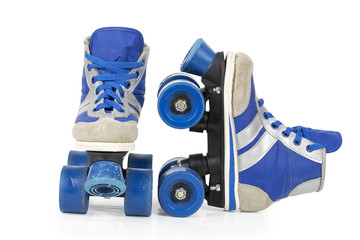 Old blue rollerblades