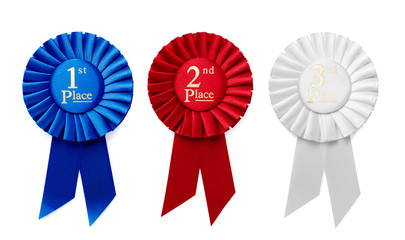 1st, 2nd and 3rd Place ribbon rosettes