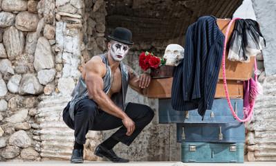 Handsome Cirque Performer Kneeling